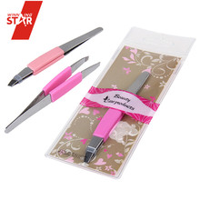 PROFESSIONAL BEAUTY EYEBROW TWEEZERS SLANTED SHARP POINTED HAIR REMOVER SET