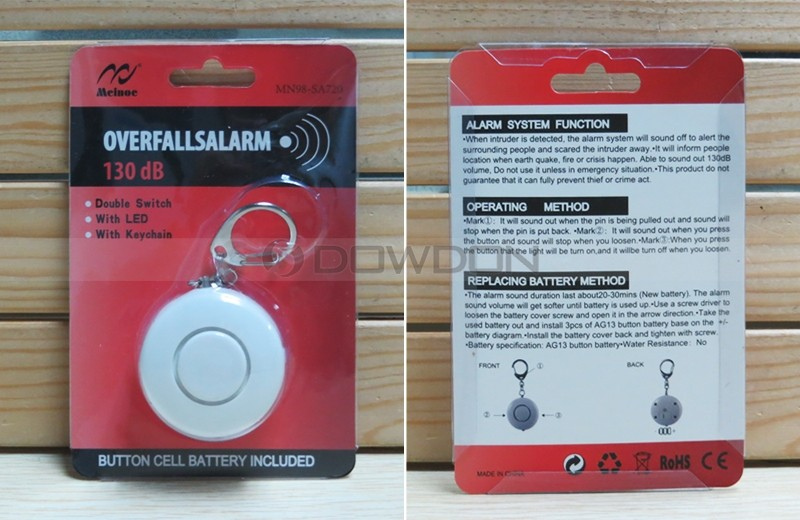 Portable Double Switch Mini Elderly Women Personal Alarm