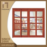 Surface Finishing 4 Panel Sliding Wooden Outdoor Patio Doors