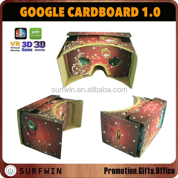 DIY CHRISTMAS GOOGLE CARDBOARD VR TOOLKIT , Google cardboard VR 3D glasses for 4.7,5.0, 5.7 inch phones