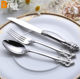 Wholesale Stock Royal Luxury Curved Handle Gold Silver Plated Stainless Steel 24pcs Cutlery Set