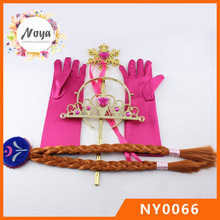 Girls magic fairy wand glove wing and plastic tiara crown set