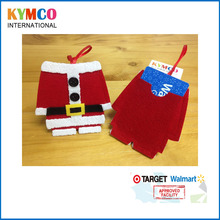 New Product Handmade Felt Fabric Santa Suit Christmas Ornament with Ribbon Hanging Card Holders