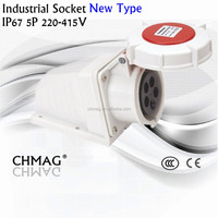 Industrial plug socket with lock 32A 3P+N+E IP67 1252