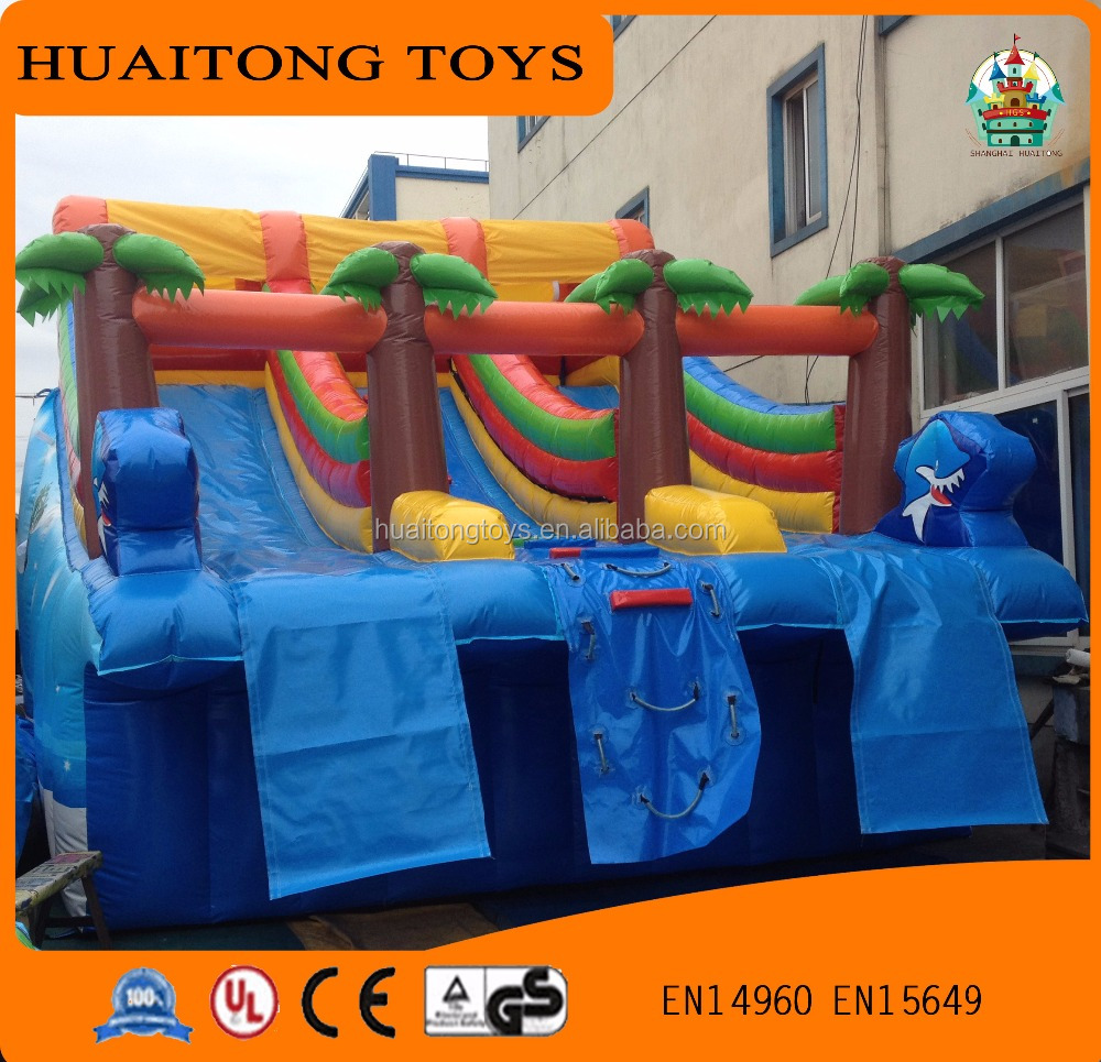 2016 new type rainbow outdoor three slide inflatable water park slide on land for sale