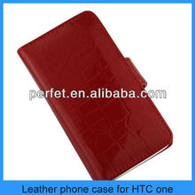 Premium Calf Leather Wallet Flip Stand Case Cover For HTC ONE M7