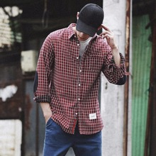 Men Slim Fit Chest Pocket Casual Classic Plaid Clothing Tops Patchwork Shirt Drop Shipping
