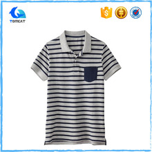Mens Polo Collar Striped T Shirt 100% Cotton With Pockets