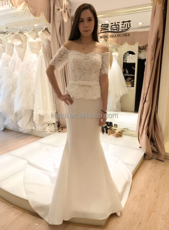 suzhou white wedding dress mermaid short sleeve long train