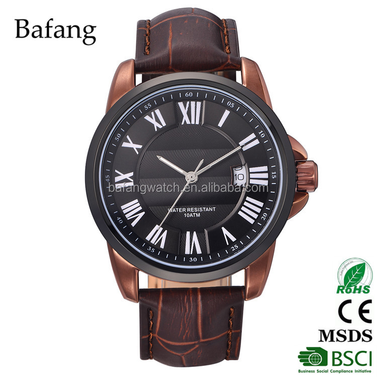 Water resistant stainless steel case back20mm leather band quartz men watch