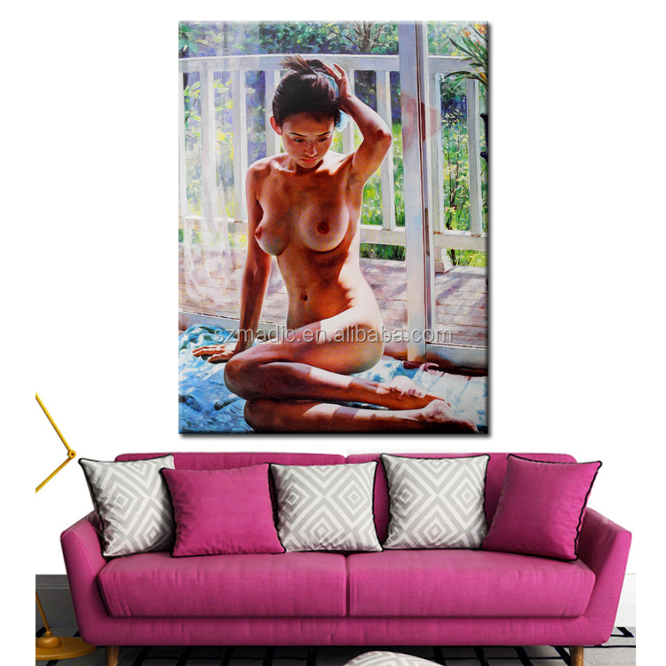 Wall Art on Canvas Decorative Painting Sex Chinese Girl Nude Painting Classical Printed Nake Oil Paintings
