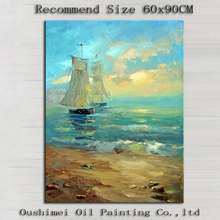 Top Artist Pure Handmade High Quality Impression Seascape Oil Painting Beautiful Sea and Ship Oil Painting on Canvas