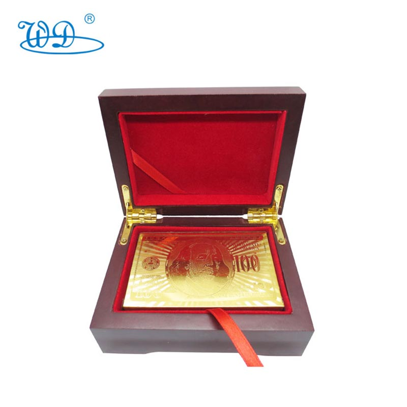 2015 Wonder crafts waterproof one set <strong>100</strong> us dollar 24k gold playing <strong>cards</strong> with wooden box package and certification