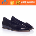 Flat Sole Latest Style Genuine Paint Leather Lady Shoes