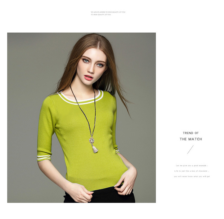 2018 Spring Europe and the United States brand women's modal cotton hit color round neck wool shirt