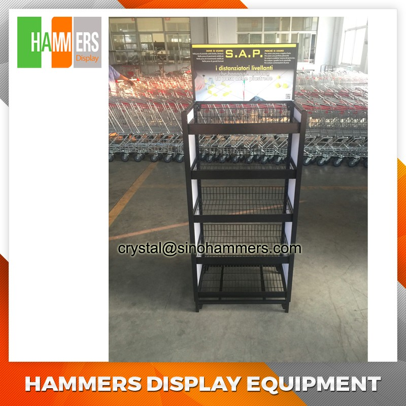 supermarket retail wire display racks with wheels