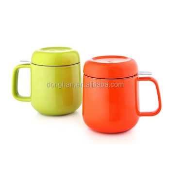 food safety orange and green 480ml tea mug with lid and infuser ceramic type