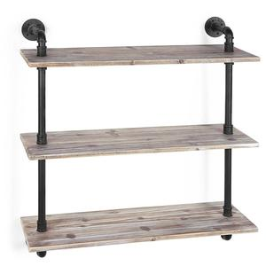 3 Tier Industrial Style Pipe Rustic Wood Wall Mounted Entryway Corner Shelf