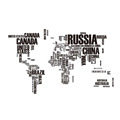 Creative world map with letters for every nation wall stickers for living room