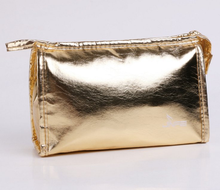 Eco Beauty Fashion Shining PU leather Gold Customized Makeup Cosmetic Organizer Bag