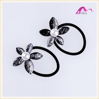 Wholesale Elegant Korean Style Girls Big Pearl Flower Decorative Elastic Hair Band & Pony Tail Holder Rubber Rope Accessories