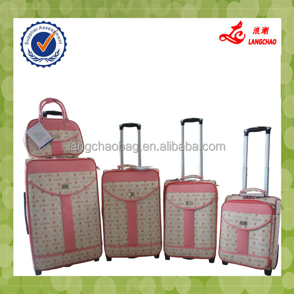 Sweet Fashion Girls White With Pink New PU Material Korea And Japan Trolley Luggage
