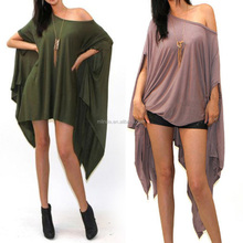 OEM Wholesale Summer Beach Cover Up Plain Cotton Spandex Asymmetrical Dresses Plus Size Beachwear L/XL/XXL/XXXL
