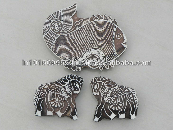 Indian handmade fish horse wooden printing block buy at best prices on india Arts Palace