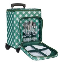 Outdoor Camping Wheeled picnic cooler cool Red wine insulated bag with trolley
