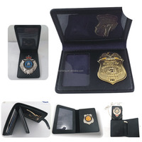Metal Material and Badge & Emblem Leather Badge Wallet