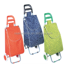 RW6013L China Shopping Bag Factory Supply 3 Colors Cartoon Prints Material Vegetable Shopping Trolley Bag With 2 Wheels