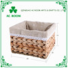 AC ROOM rush & seagrass rope woven storage basket /cube with washable liner