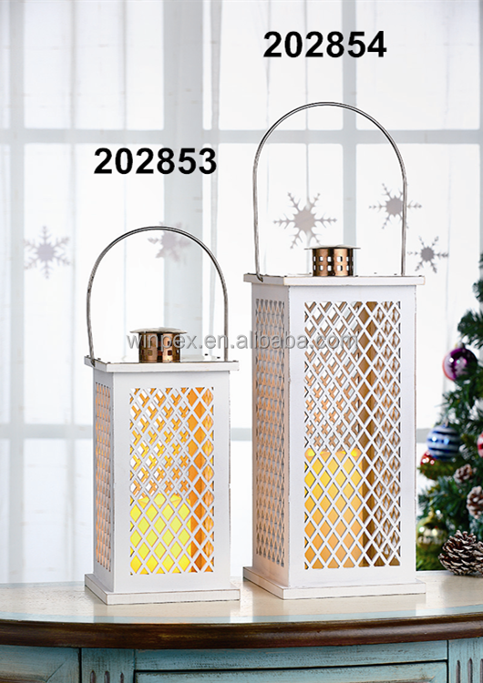 Christmas Decorative White Wooden Lanterns With LED Candles Installed