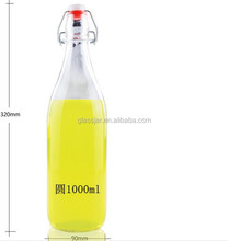 32oz round water glass bottle,glass juice bottle with clip lid