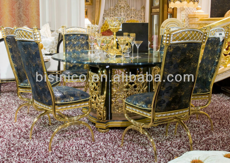 Luxury home dining table set,european classical dining table and chair,24K golden copper plated(B50998)