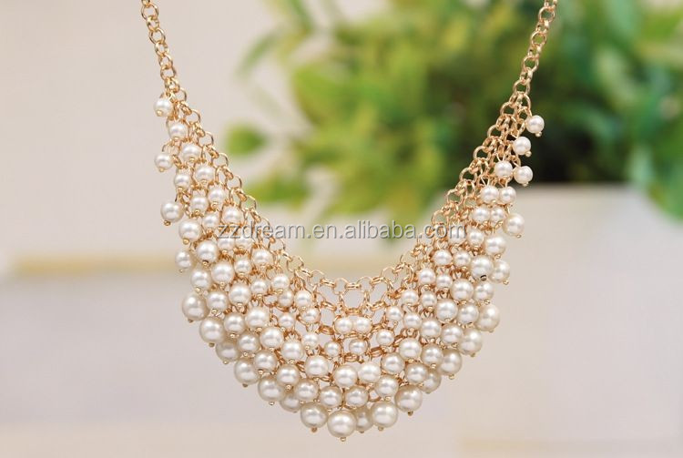 Fashion Alloy Fake Pearl Bead Collar Necklace