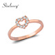 SINLEERY Trendy Sparkling Tiny Crystal Heart Engagement Rings For Women Girl Wedding Jewelry Rose Gold Color JZ452