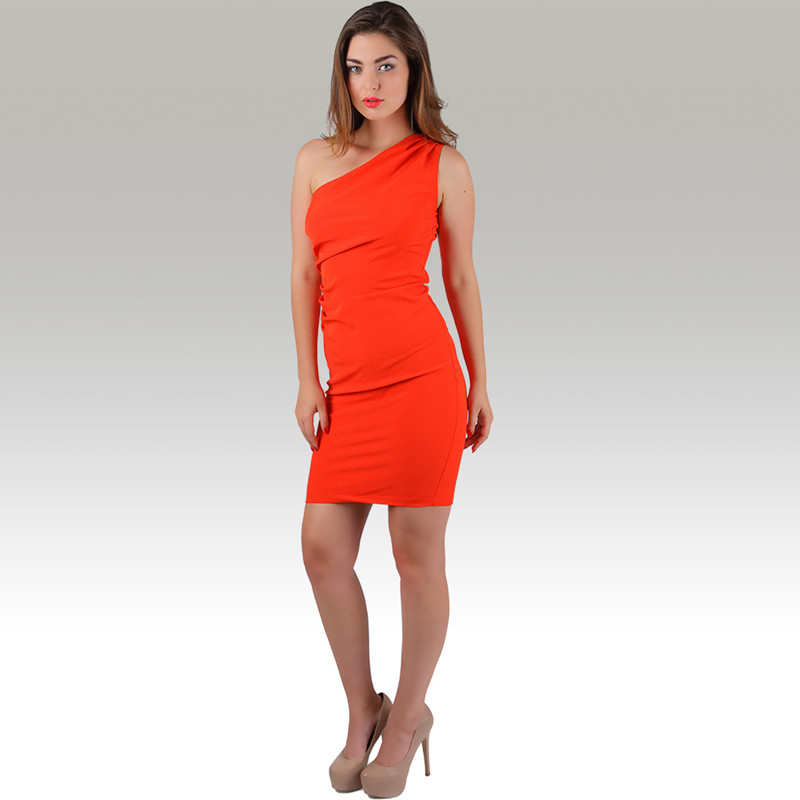 Inclined shoulder bodycon frock solid orange party dress slim clothing women