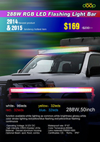 50inch flash Off road multi color led light bar , red amber and blue color changing light bar with strobe leds
