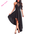 2017 Women Fashionable Sheer Mesh Decolletage Hi-low Evening Party Dress
