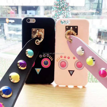 Good Style Rivet Owl Case with Wrist Lanyard for iPhone 8 7 7plus 6 6s 6plus X Soft TPU Back Case Funda Cover