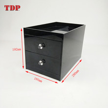 Factory Wholesale High Quality black desk organizer with 2 Drawers Acrylic Storage Box plastic table collection box