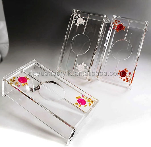 Eco friendly acrylic material Table Decoration clear acrylic tissue box holder