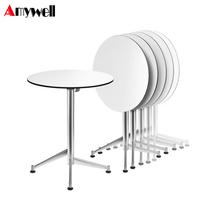 waterproof hpl compact pure antique white round restaurant dining table