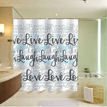 Mildew free Printed polyester shower curtain,live laugh and love