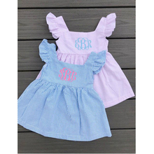 Wholesale Boutique Kids Clothing Summer <strong>Girl's</strong> Seersucker Ruffle Sleeve <strong>Dress</strong>