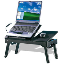 Adjustable Ergonomic Folding Laptop Desk for Bad with Cooling Fan and Mouse Pad