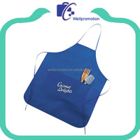 Promotion fashion double sided blue fancy apron with pocket