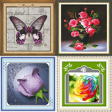 Custom Handmade Red Flower Pattern Embroidery Diamond Painting Cross Stitch Fabric Kit