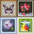 Custom Pattern Handmade Red Flower Pattern Embroidery Diamond Painting Cross Stitch Fabric Kit